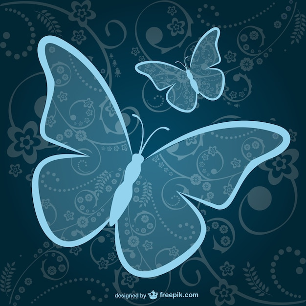 Ornamental blue butterflies background Free Vector