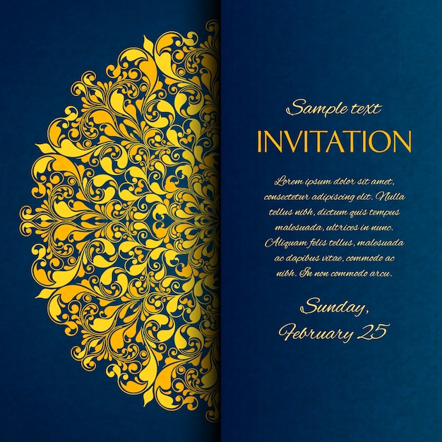 Ornamental blue with gold embroidery invitation card Free Vector
