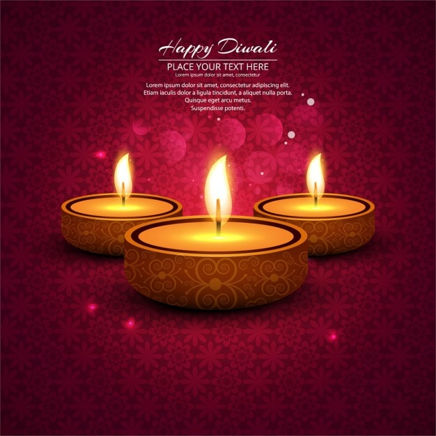 Ornamental bokeh background with candles diwali Free Vector