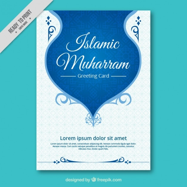 Ornamental brochure of islamic new year Free Vector