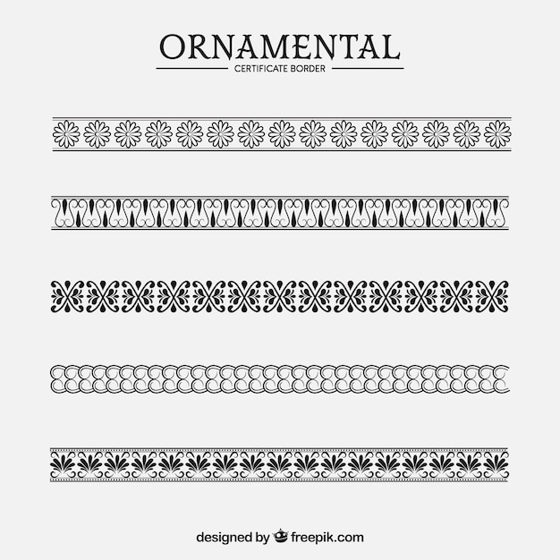 Ornamental certificate border collection Free Vector