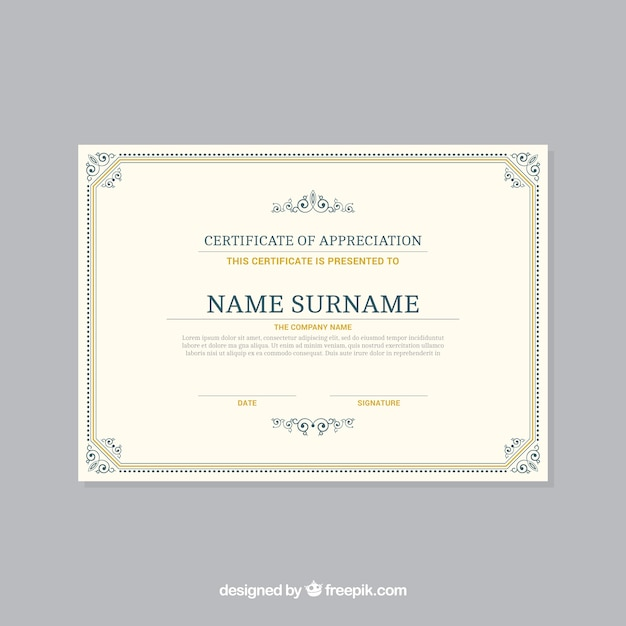 Ornamental certificate border template Free Vector