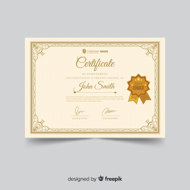 Ornamental certificate template in vintage style Free Vector
