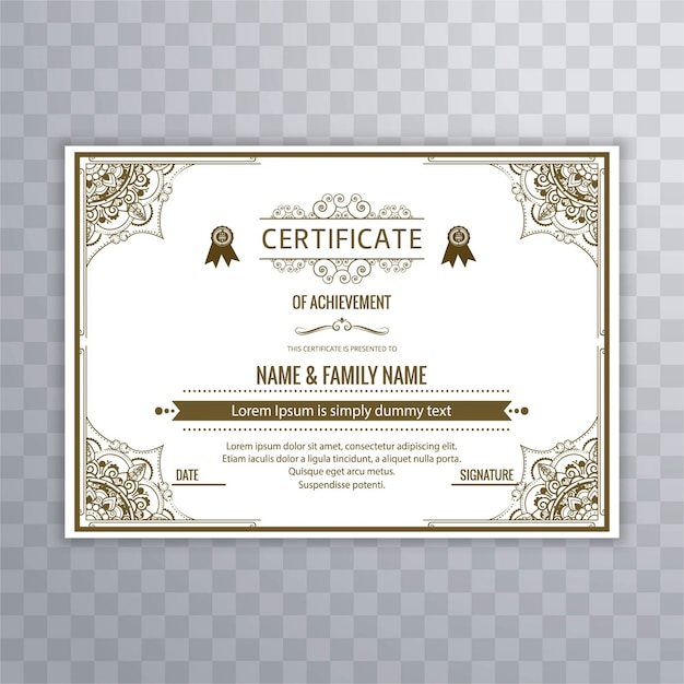 Ornamental certificate template vector free download ornamental certificate template free vector yadclub Images