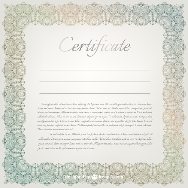 Ornamental certificate template Vector – Download Certificate Templates