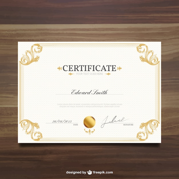 Ornamental Certificate Template Vector Free Download