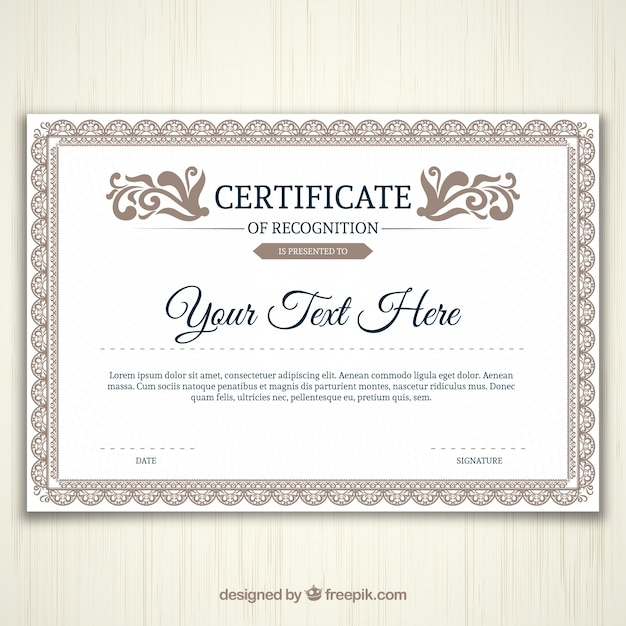 Ornamental certificate template Free Vector