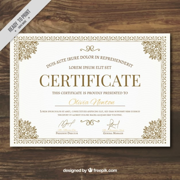 Ornamental certificate template vector free download for Certificate of appreciation template psd free download