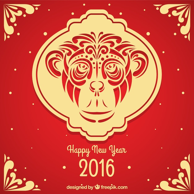 ornamental chinese monkey new year background free vector - Chinese New Year Year Of The Monkey