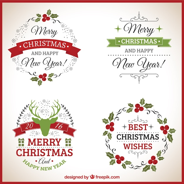 Ornamental christmas badges Free Vector