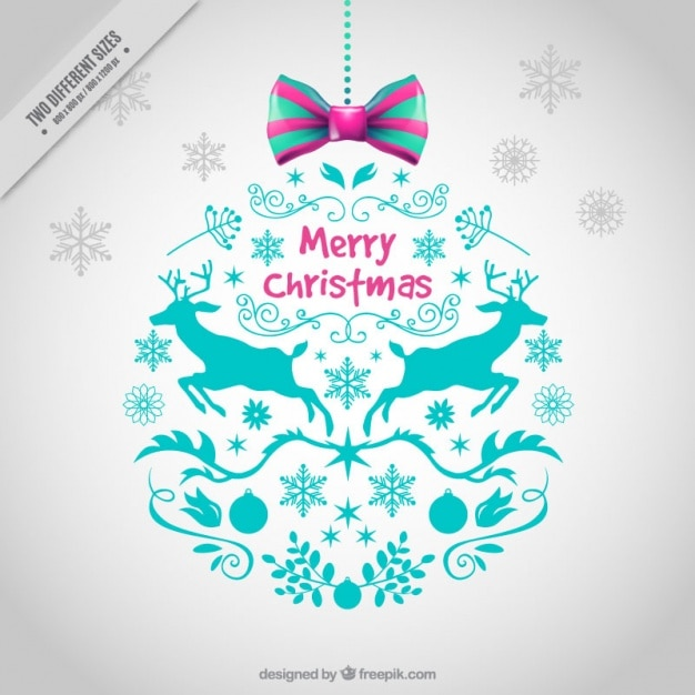 Ornamental christmas balls background with drawings Free Vector