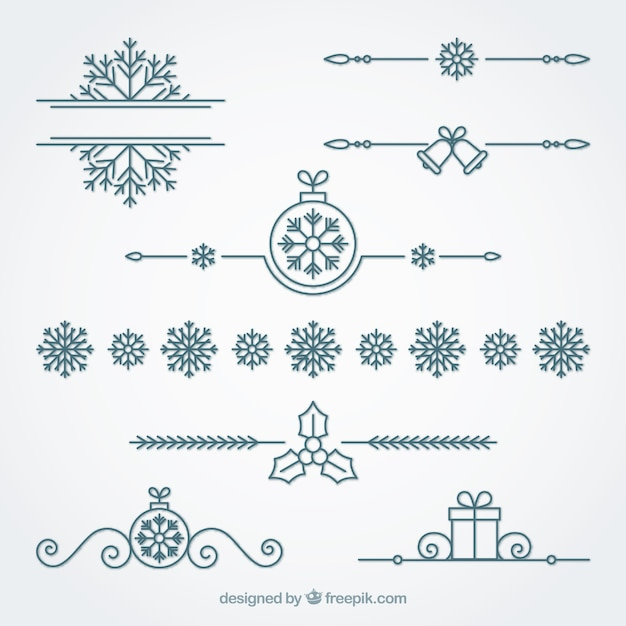Ornamental christmas border set Free Vector