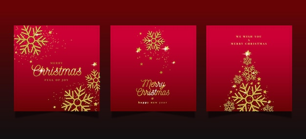 Ornamental christmas cards collection Free Vector