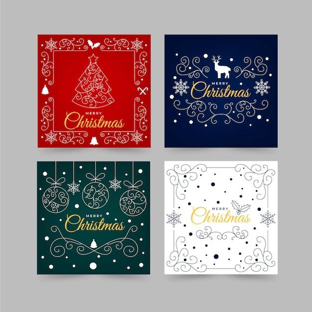 장식용 크리스마스 카드 서식 파일 프리미엄 벡터