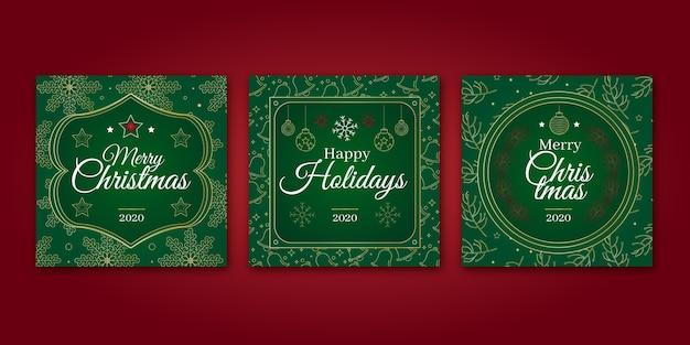 装飾用のクリスマスカード 無料ベクター