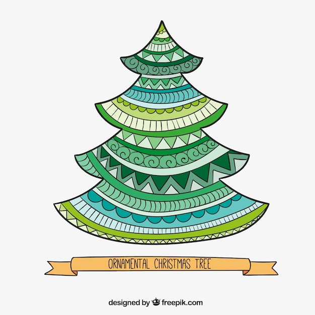Ornamental christmas tree in abstract style | Free Vector