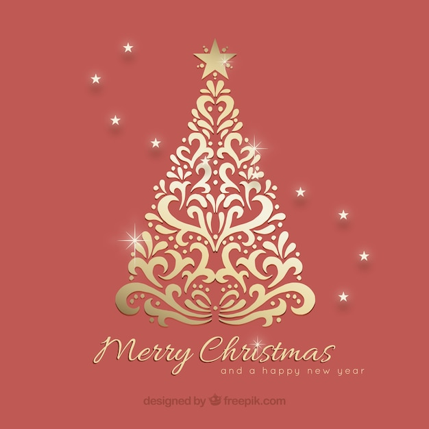 Ornamental Christmas Tree Background Free Vector