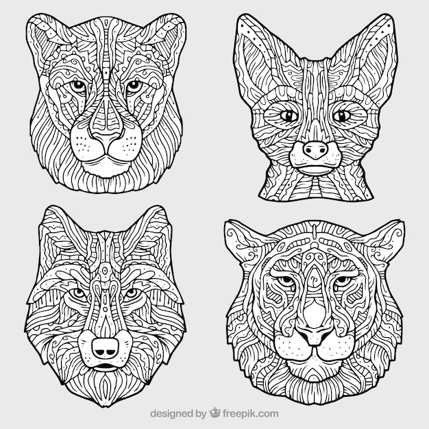 Ornamental collection of decorative animals Free Vector