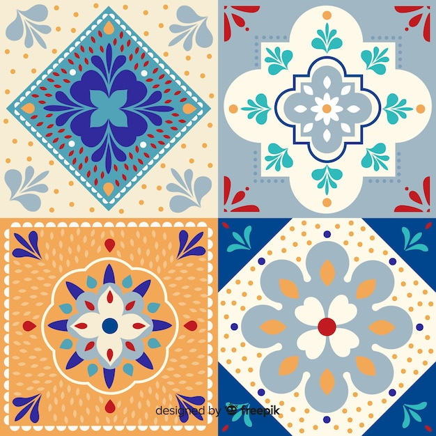Ornamental collection of tiles Free Vector