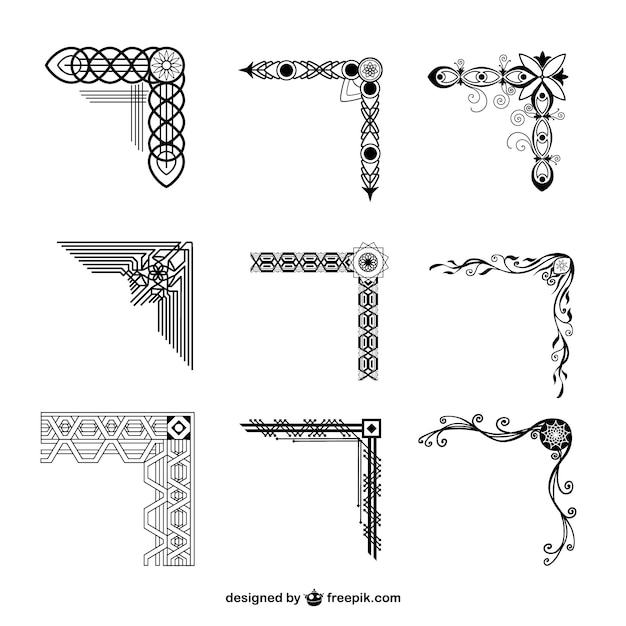 Ornamental corners collection Vector | Free Download