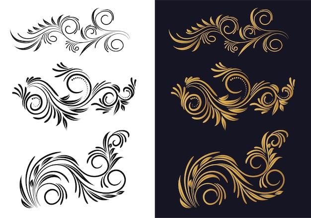 Ornamental creative floral decorative set design Free Vector
