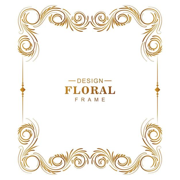 白い背景を持つ装飾的な創造的な黄金の花のフレーム 無料ベクター