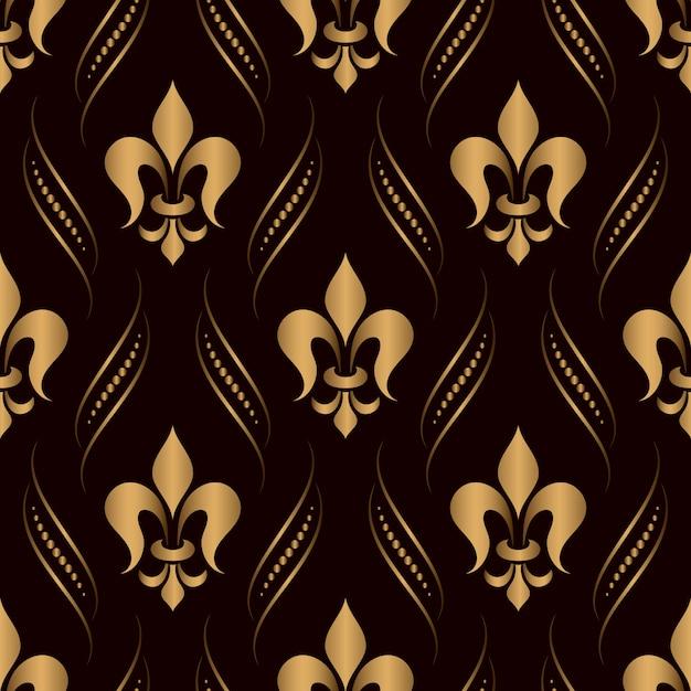 Ornamental damask seamless pattern golden Free Vector