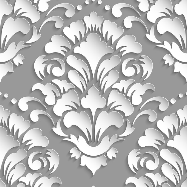 Ornamental damask seamless pattern Free Vector