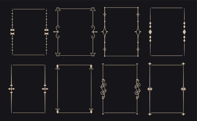 Ornamental decorative vintage frame set of eight Free Vector