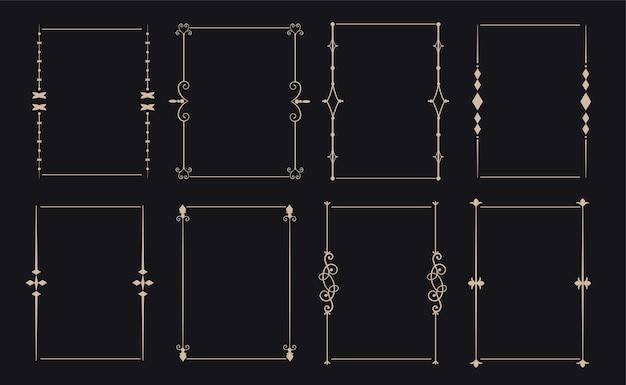 8つの装飾的な装飾的なビンテージフレームセット 無料ベクター