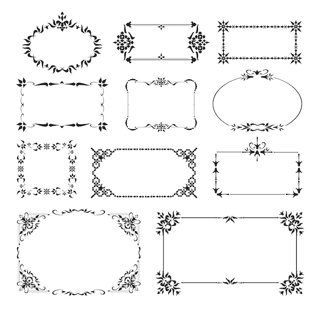 Ornamental design corners set Free Vector