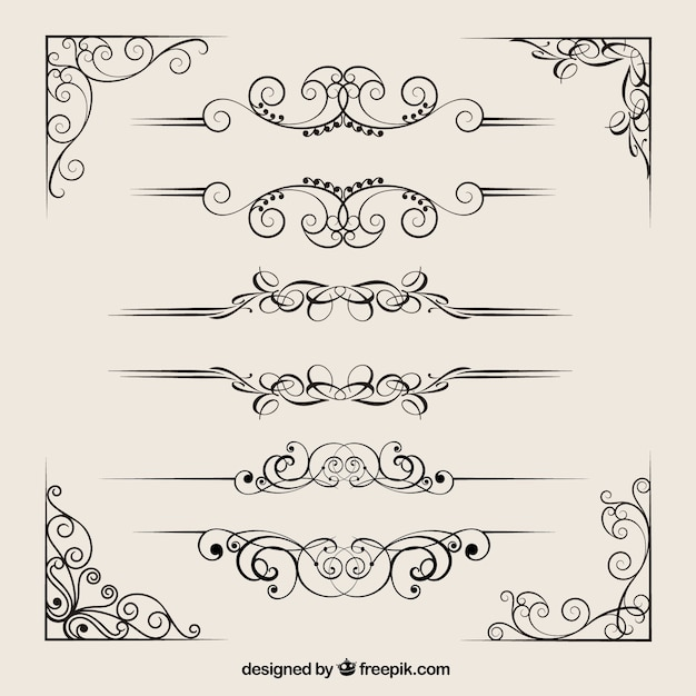 Ornamental dividers collection Free Vector