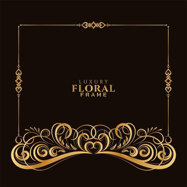 Ornamental elegant golden decorative floral frame design Free Vector