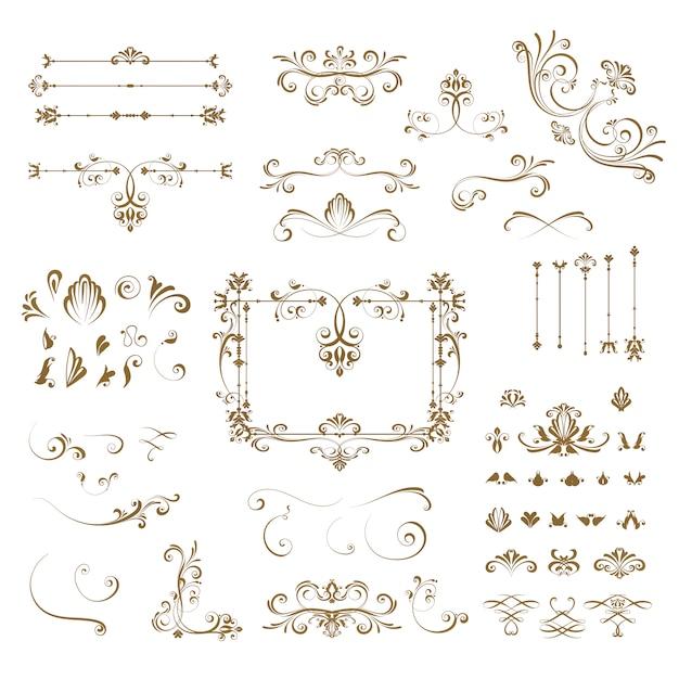 Elementi decorativi di raccolta Vettore gratuito