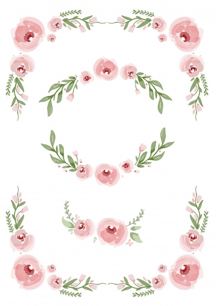 Ornamental elements with pink flowers
