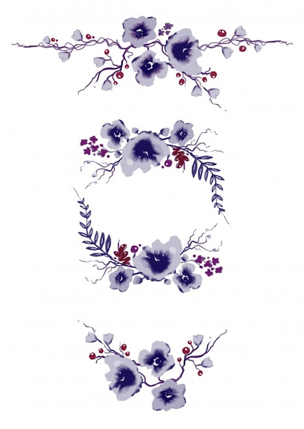 Ornamental elements with purple flowers