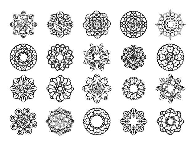 Ornamental floral circular mehndi set Premium Vector