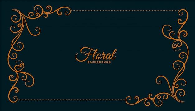 観賞用の花コーナーフレーム暗い背景デザイン 無料ベクター