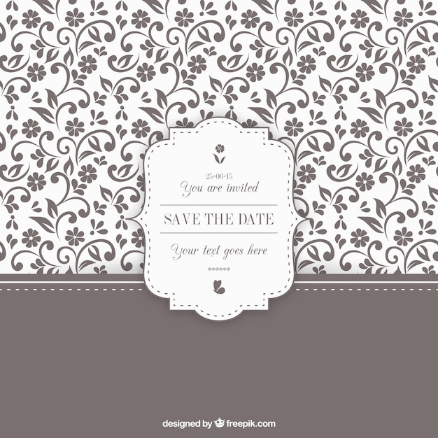 Ornamental floral wedding invitation Free Vector