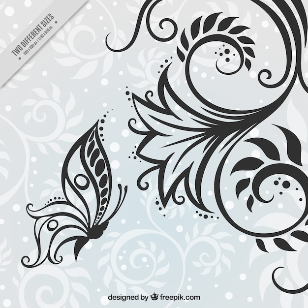 Ornamental flower and butterfly background Free Vector