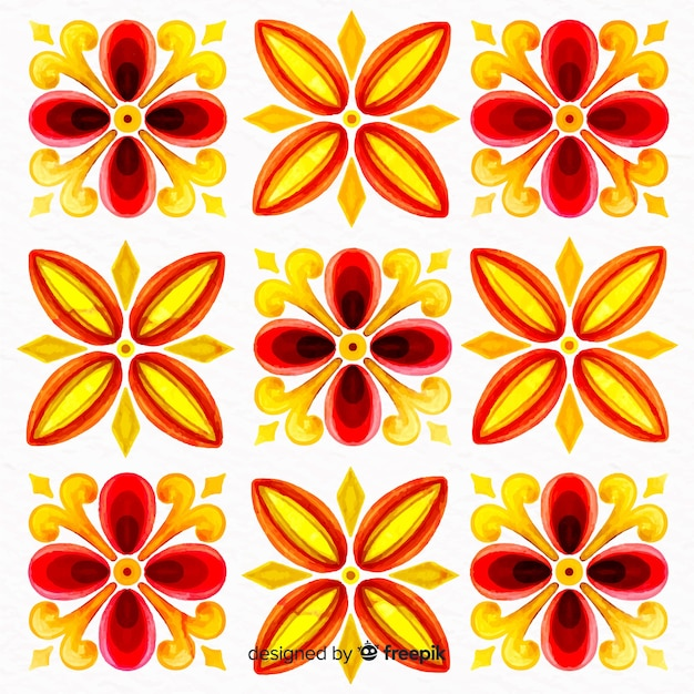 Ornamental flowers watercolor paint background Free Vector