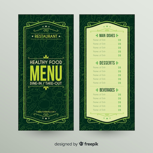 Ornamental frame healthy menu template Free Vector