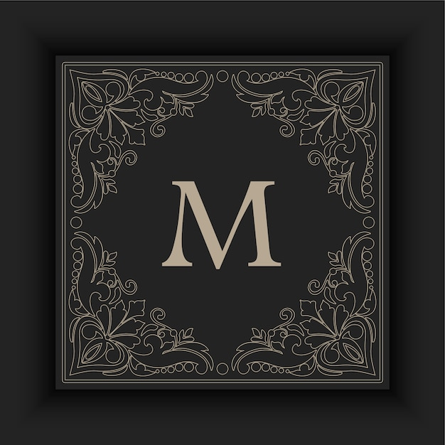 Ornamental frame with initial Free Vector