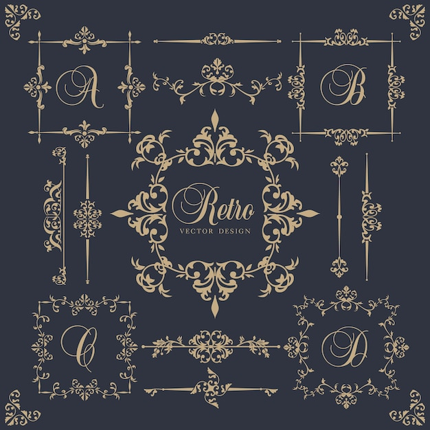 Ornamental frames in vintage style Free Vector