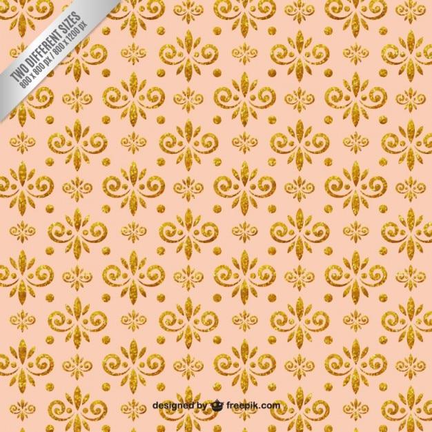 Ornamental glitter flowers background Premium Vector