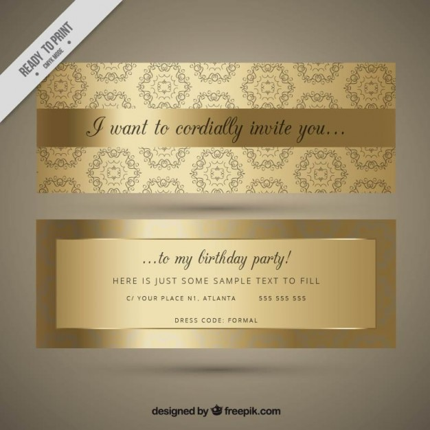 Ornamental golden birthday invitation vector free download ornamental golden birthday invitation free vector stopboris Image collections