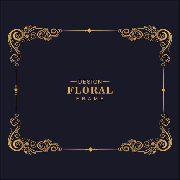 Design del telaio floreale decorativo dorato ornamentale Vettore gratuito