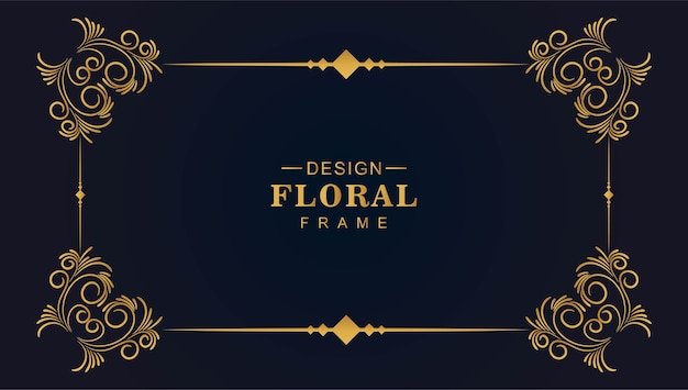 Ornamental golden decorative floral frame Free Vector