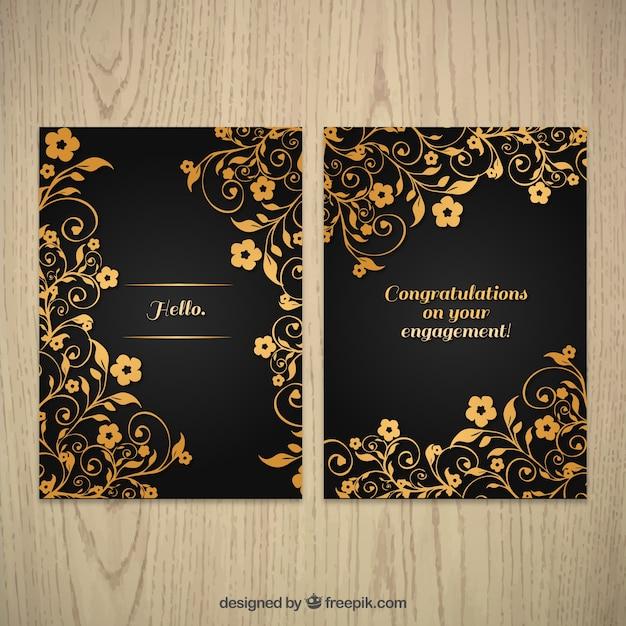 زینتی طلایی کارت پستال گل