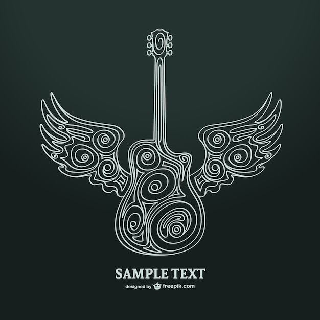 Ornamental guitar with wings Free Vector